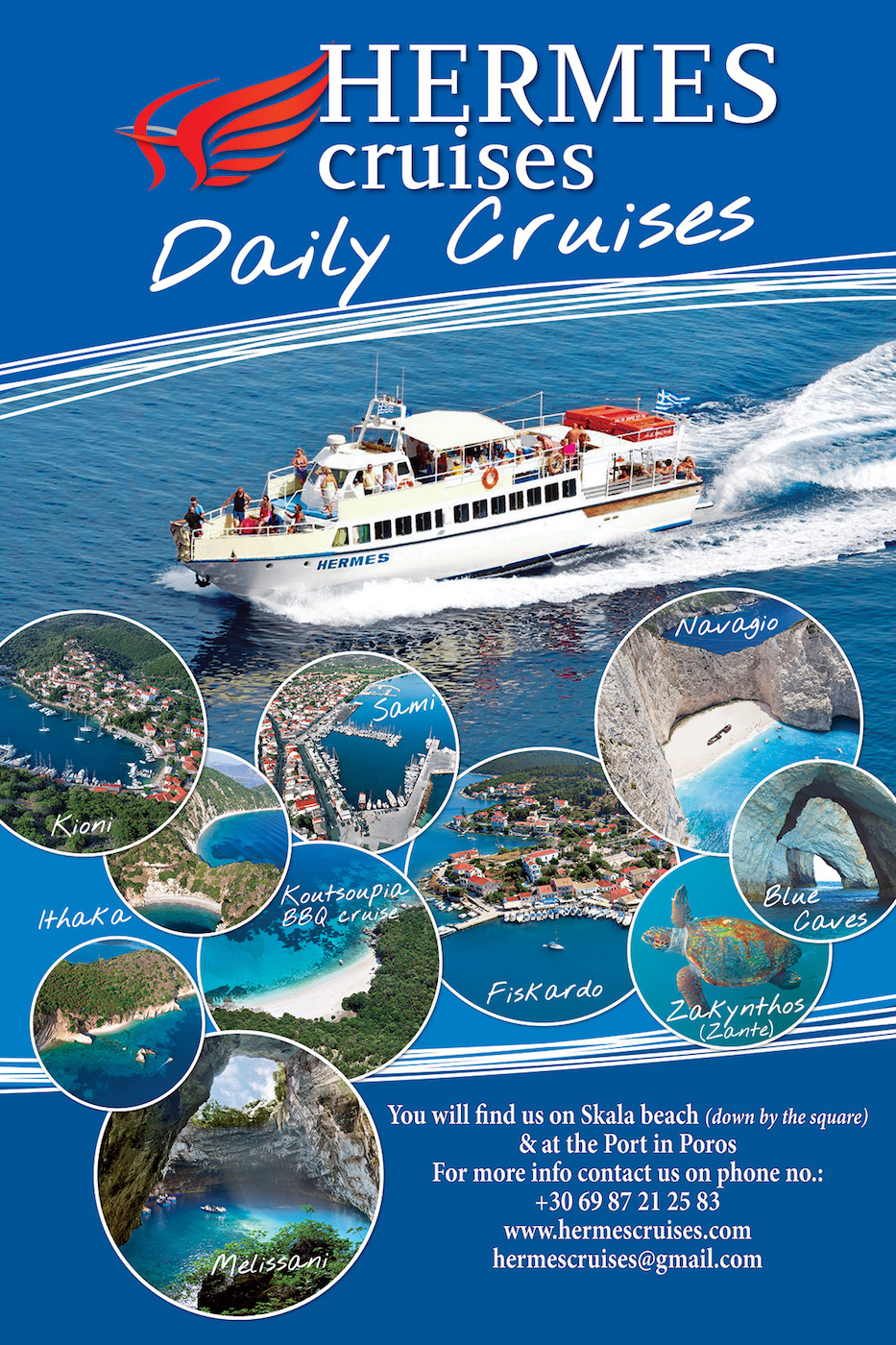 Welcome to Hermes Cruises Kefalonia - Book now a perfect Kefalonia day cruise. Enjoy the beauty of Ionian Sea! Kefalonia Daily Cruises to Ithaca - Kefalonia Daily Cruises to Zakynthos - Kefalonia Boat Cruises - Kefalonia Sea Excursions - Kefalonia Boat Tours - Hermes Cruises Kefalonia - Boat Cruises Kefalonia